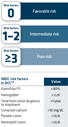 Risk factors from the International Metastatic Renal Cell Carcinoma Database Consortium (IMDC).